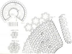 Воротник сложной сеткой с объемными цветочками