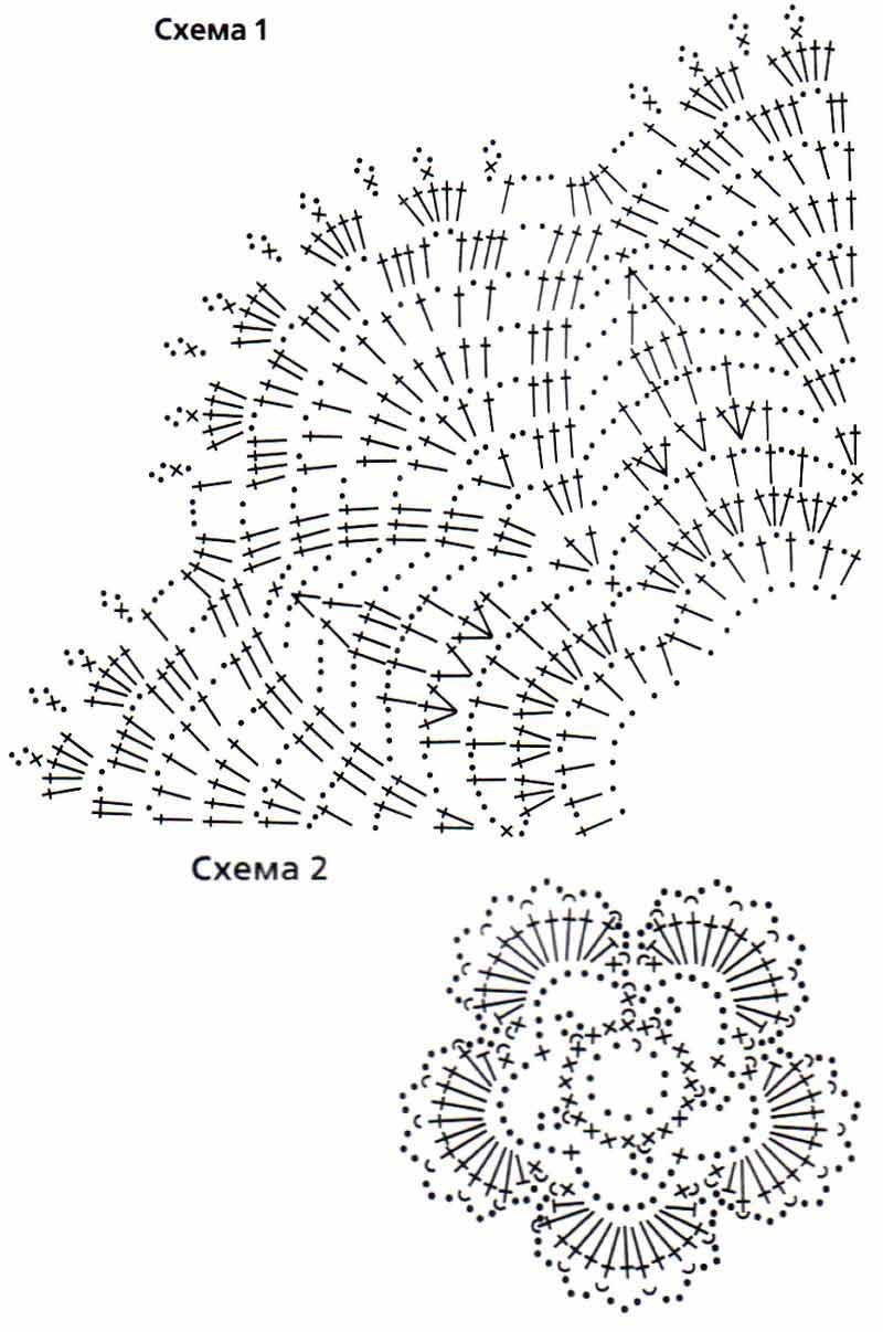 вязанные накладные воротнички со схемами
