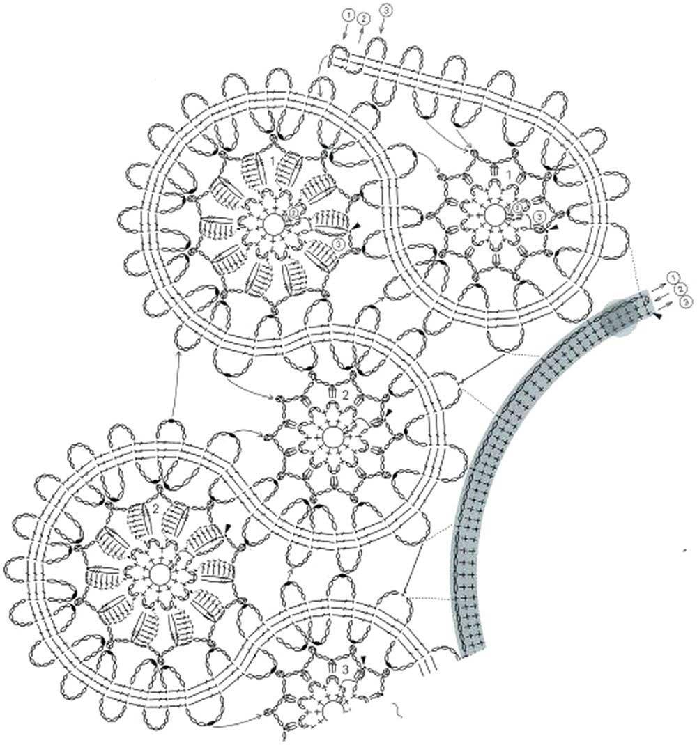 схемы крючком цветы кружево брюггское